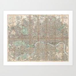 Vintage Map of London England (1862) Kunstdrucke
