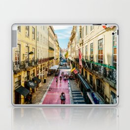 Beautiful Pink Street Downtown Lisbon City, Wall Art Print, Modern Architecture Art, Poster Decor Laptop & iPad Skin
