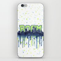 seahawks iPhone & iPod Skins featuring Seattle 12th Man Seahawks Painting Legion of Boom Art by Olechka