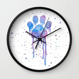 Watercolor Paw Print Wall Clock