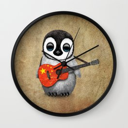 Baby Penguin Playing Chinese Flag Acoustic Guitar Wall Clock