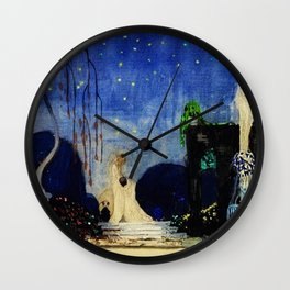 Deserted Moment magical realism landscape painting by Kay Nielsen Wall Clock