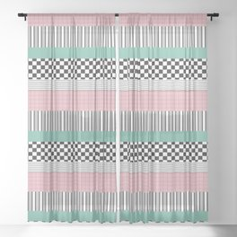 Pink and Teal Striped Pattern Sheer Curtain
