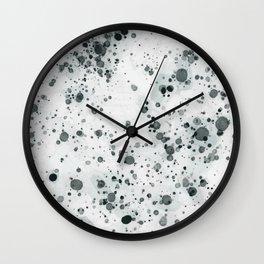 Green Ink Drops Wall Clock