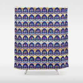 Multicolored fans and stripes pattern Shower Curtain