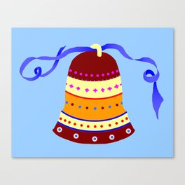 Bell and blue ribbon Canvas Print