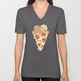 Cute Sloth Pizza Unisex V-Neck