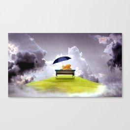 Super Sweet Stuffed Animals Brolly Rainy Clouds Dreamy Fairytale UHD Canvas Print
