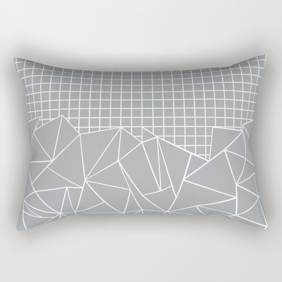 Abstract Outline Grid Grey Rectangular Pillow