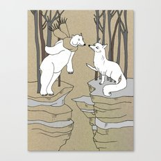Arctic fox and Polar bear, Romeo and Juliet Canvas Print