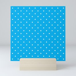 Small White Polka Dots with Blue Background Mini Art Print