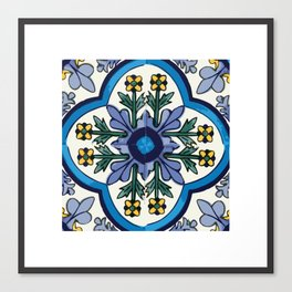 Talavera Mexican tile inspired bold design in blues, greens, and yellows Canvas Print