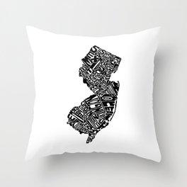 Typographic New Jersey Throw Pillow