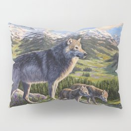 Mother Gray Wolf and Pups River Valley Pillow Sham