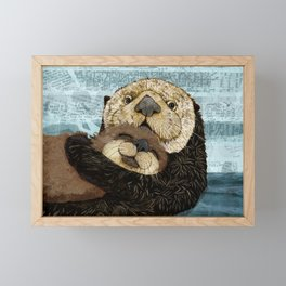 Sea Otter Mother and Baby Framed Mini Art Print