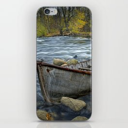 Canoe on the Thornapple River in Autumn iPhone Skin