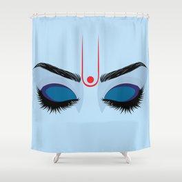 Indian god krishna eyes on blue skin Shower Curtain