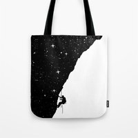 climbing Tote Bags featuring night climbing by Balazs Solti