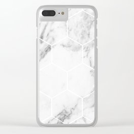 White marble hexagonal beehive Clear iPhone Case