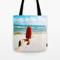popsicle Tote Bags featuring Popsicle  by Caroline Fahey
