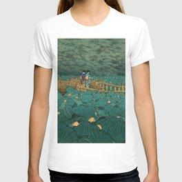 Vintage Japanese Woodblock Print Kawase Hasui Japanese Children Lotus Flowers Garden Wooden Bridge T-shirt