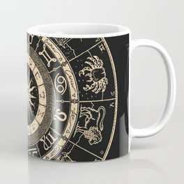 Vintage Zodiac & Astrology Chart | Charcoal & Gold Coffee Mug