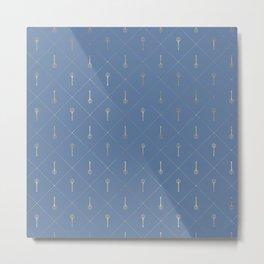 Elegant Gold Fork Trident Pattern Metal Print