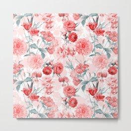 Vintage & Shabby Chic - Rose Blush Garden Flowers Metal Print