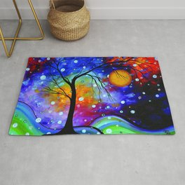 """""""Winter Sparkle"""" Original Whimsical Contemporary Painting, Art by Megan Duncanson MADART Rug"""