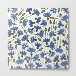 Vintage Pressed Flowers - Blue Cornflower Metal Print