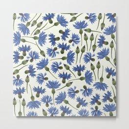 Vintage Pressed Flowers - Blue Cornflower Metal Print