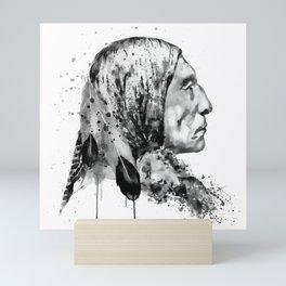 Native American Side Face Black and White Mini Art Print