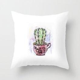 Teacup Cactus - Watercolor & ink Throw Pillow