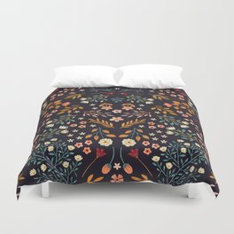 Watercolor flowers - midnight Duvet Cover