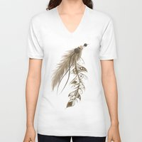 bohemian V-neck T-shirts featuring Bohemian Feather by LouJah