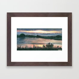 Summer Sunset at Baker Wetlands Painting Framed Art Print