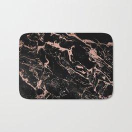 Modern girly faux rose gold foil black marble Bath Mat