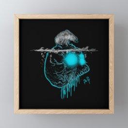 Calavera neón azul con oso polar calentamiento global Framed Mini Art Print
