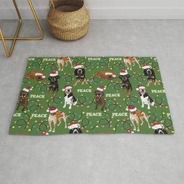 santa hat coonhounds lights green Rug