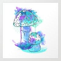 Mushroom blue Art Print