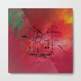 Music, Drummer, Drums, Orignal Artwork By Jodi Tomer. Rock and Roll Drums Metal Print