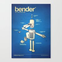 bender Canvas Prints featuring Bender by Enrique Guillamon