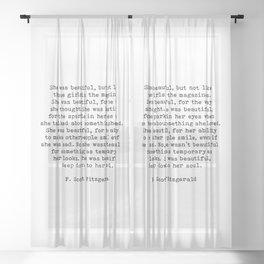 She Was Beautiful, F. Scott Fitzgerald, Quote Sheer Curtain