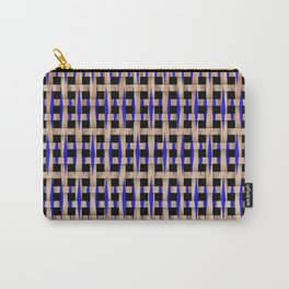 Wooden Weave With Blue Pattern Carry-All Pouch