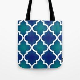 Quatrefoil - Teal and Blue Ombre Tote Bag