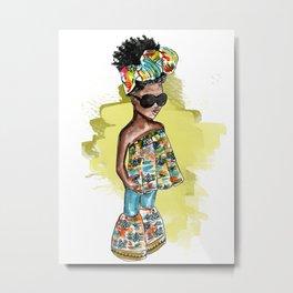SHE READY (yellow splash watercolor splash) Metal Print