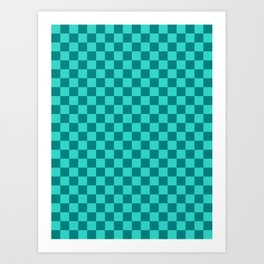 Teal and Turquoise Checkerboard Art Print