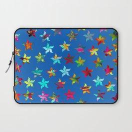 Colorful Pinwheels on Blue Background Laptop Sleeve