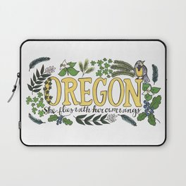 Oregon State Motto Bird Flower Nature Hand Drawn Art Laptop Sleeve