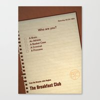 breakfast club Canvas Prints featuring The Breakfast Club by Tommaso Valsecchi